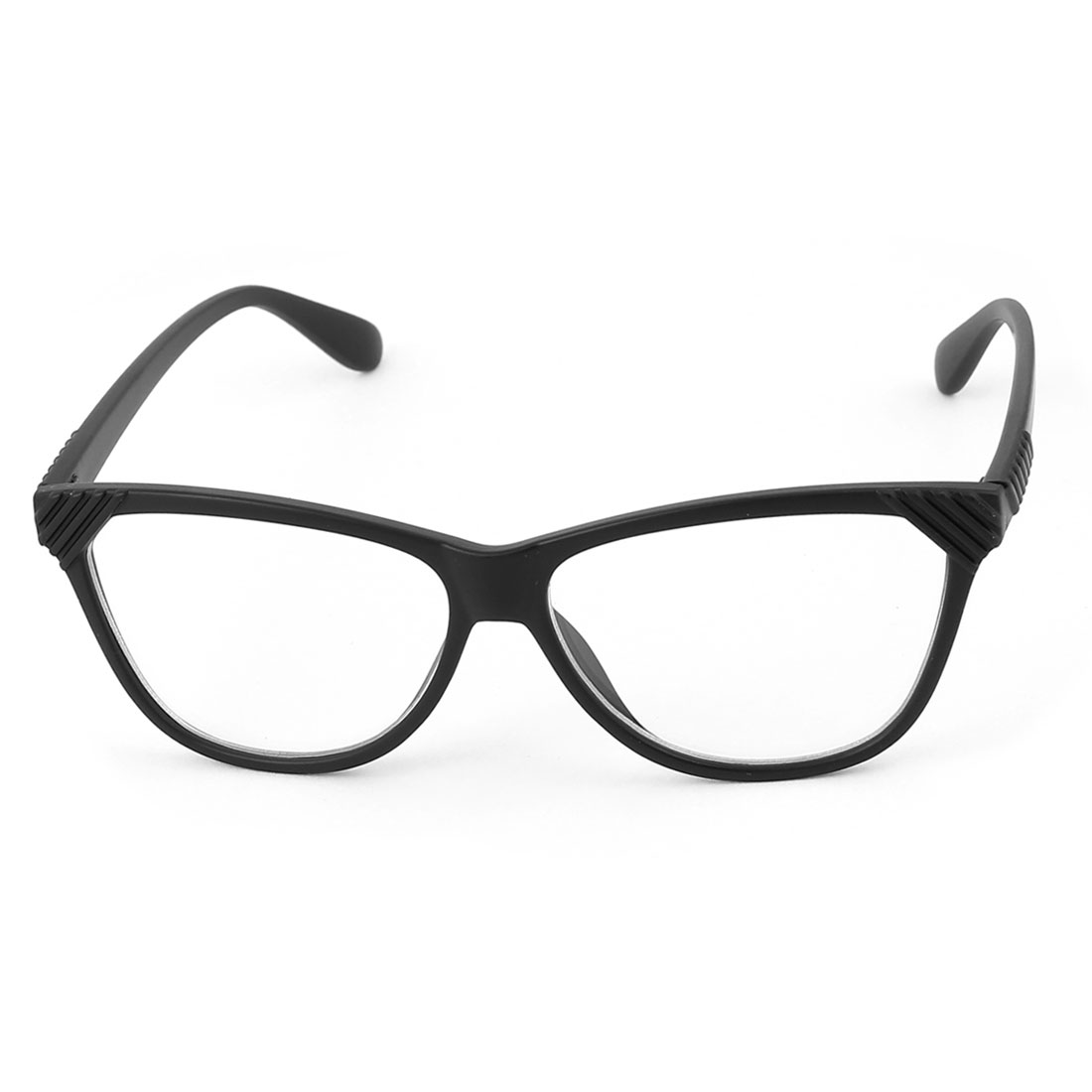 Plastic Arm Single Bridge Clear Lens Plain Glasses Eyeglasses Plano Spectacles Black