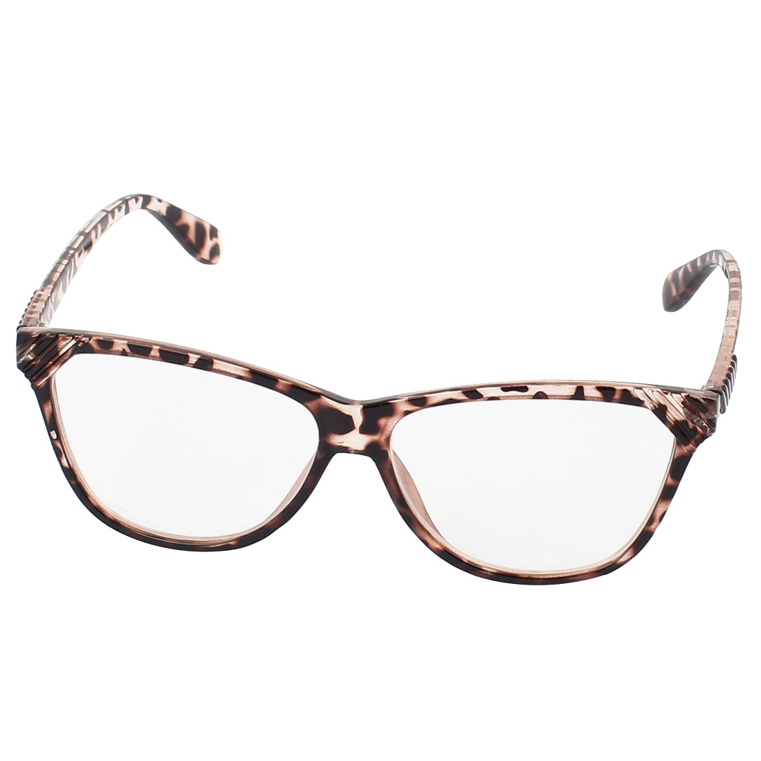 Leopard Pattern Frame Single Bridge Clear Lens Plain Glasses Eyeglasses Plano Spectacles