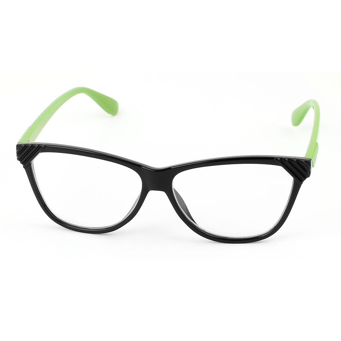 Plastic Arm Single Bridge Clear Lens Plain Glasses Eyeglasses Plano Spectacles Green