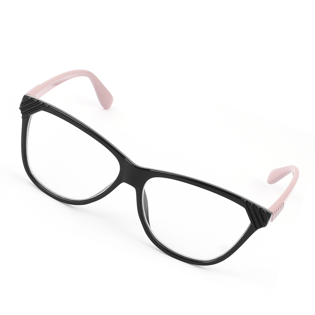 Plastic Arm Single Bridge Clear Lens Plain Glasses Eyeglasses Plano Spectacles Coral Pink