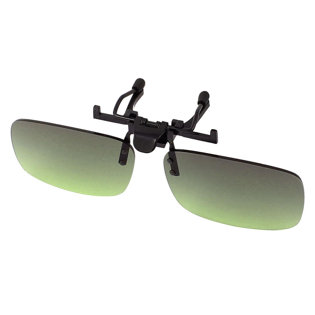 Green Lens Rimless Anti Glare Clip On Driving Sunglasses Eyeglasses 126 x 35mm