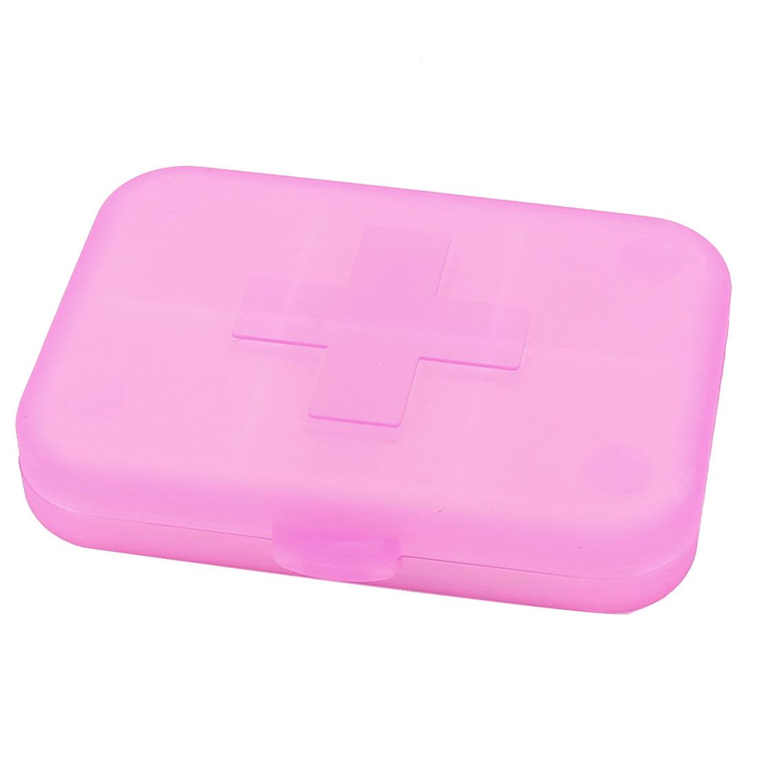 Plastic Rectangle 6 Compartments Portable Medicine Pill Box Fuchsia