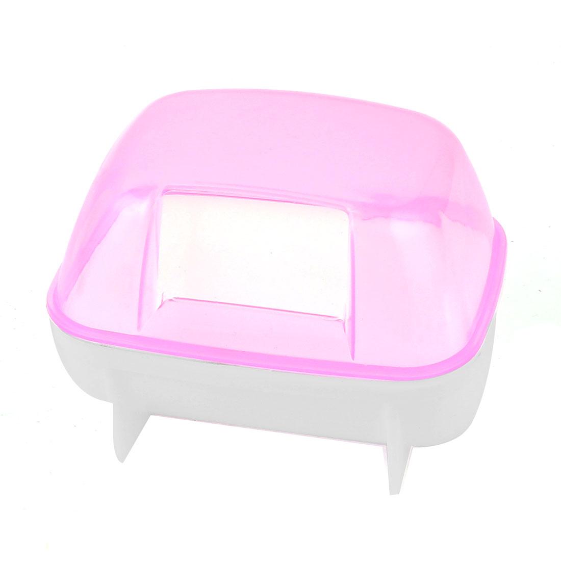 Plastic Detachable Pet Gerbil Hamster House Cage Playing Habitat Pink White
