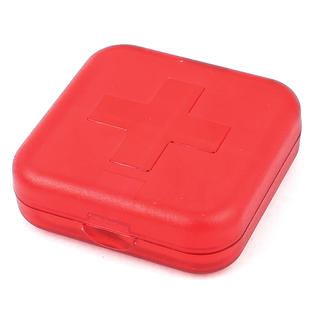 Portable Square 4 Compartments Medicine Pill Box Holder 6.5 x 6.5 x 2cm Red