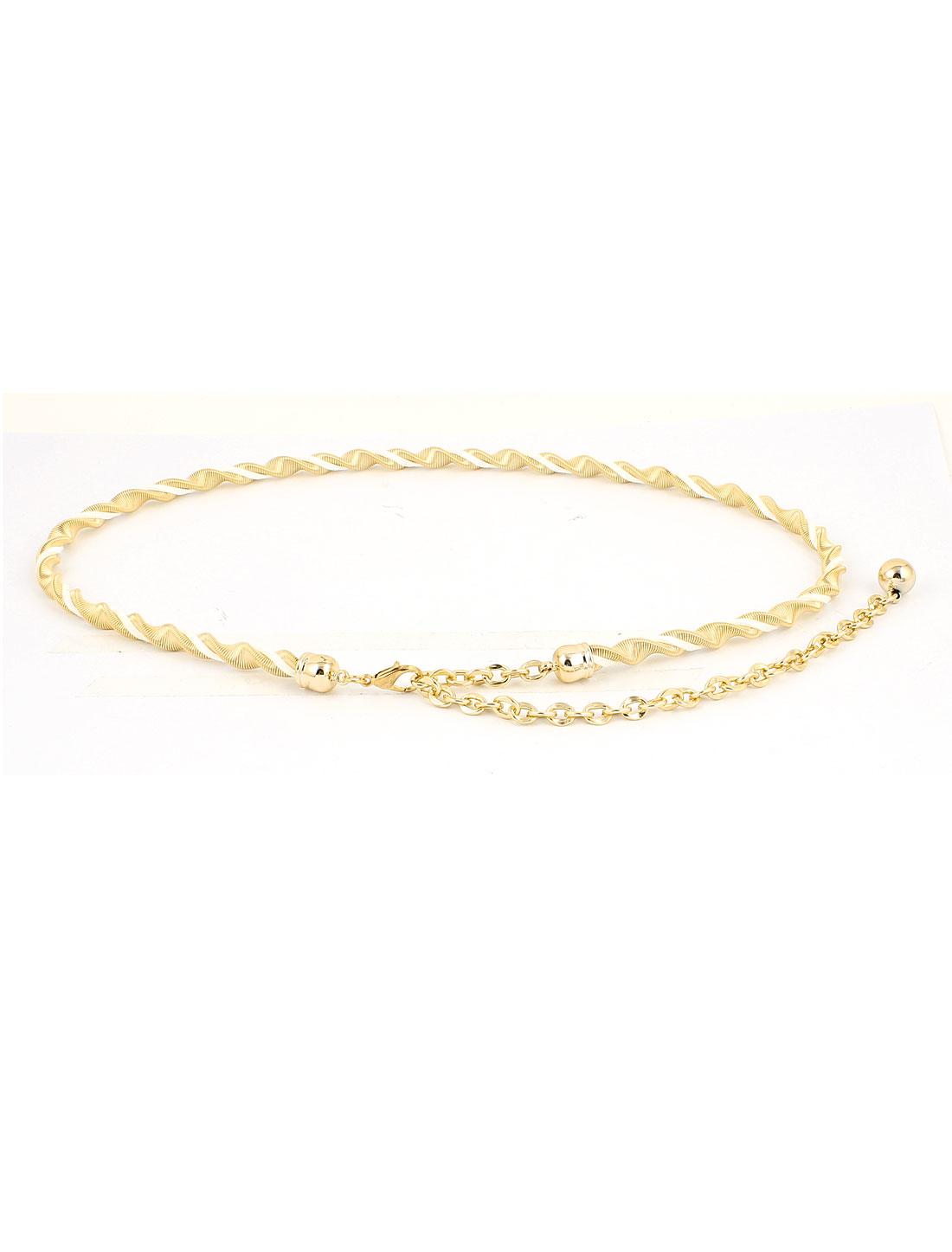Ladies Women Lobster Clasp Metallic Waist Belt Gold Tone
