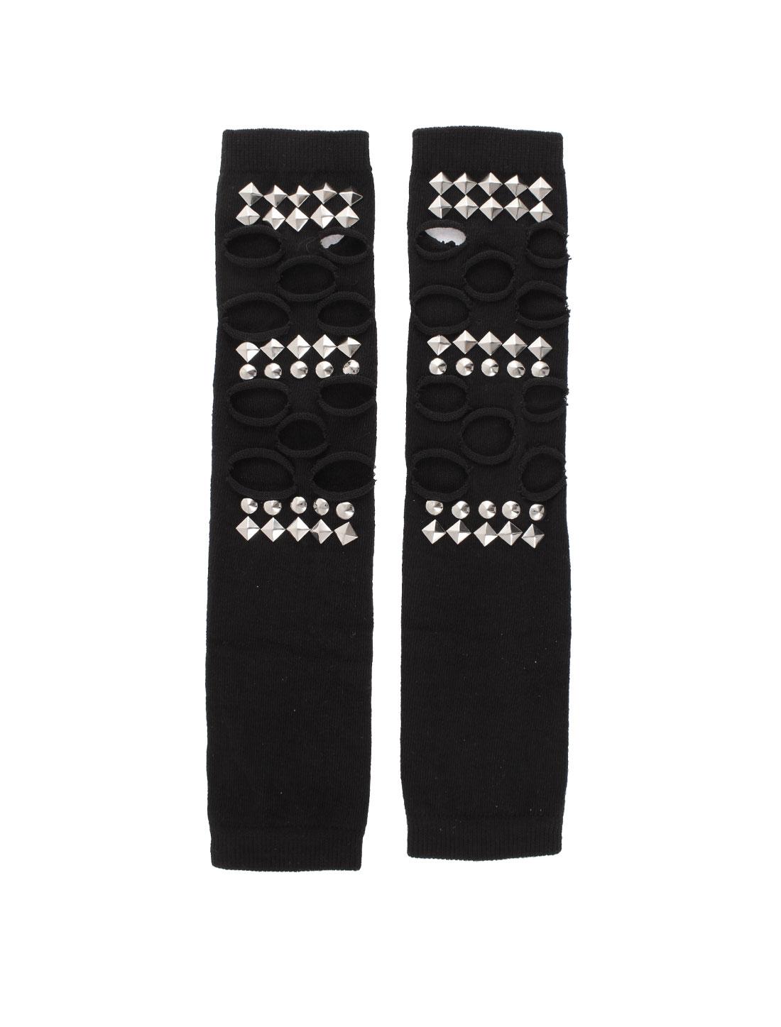 Women Shiny Rivets Decoration Elastic Fingerless Arm Warmer Sleeve Gloves Black Pair