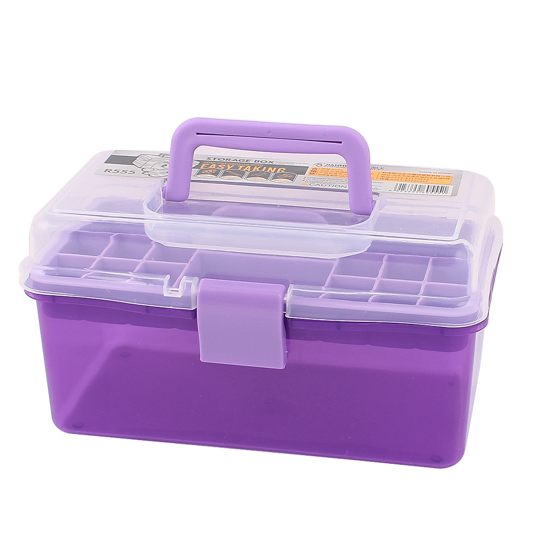 Plastic Rectangle Shaped Double Layers Storage Box Holder Case Clear Purple