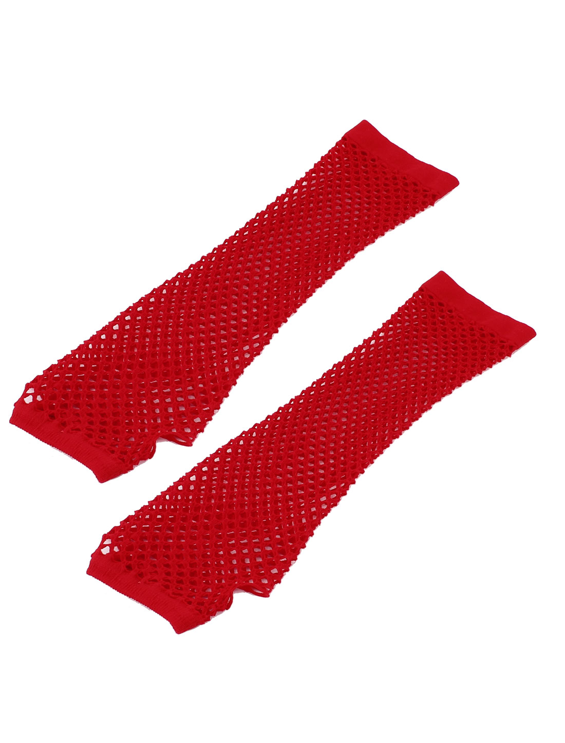 Woman Elbow Length Elastic Fishnet Fingerless Arm Warmers Gloves Red Pair