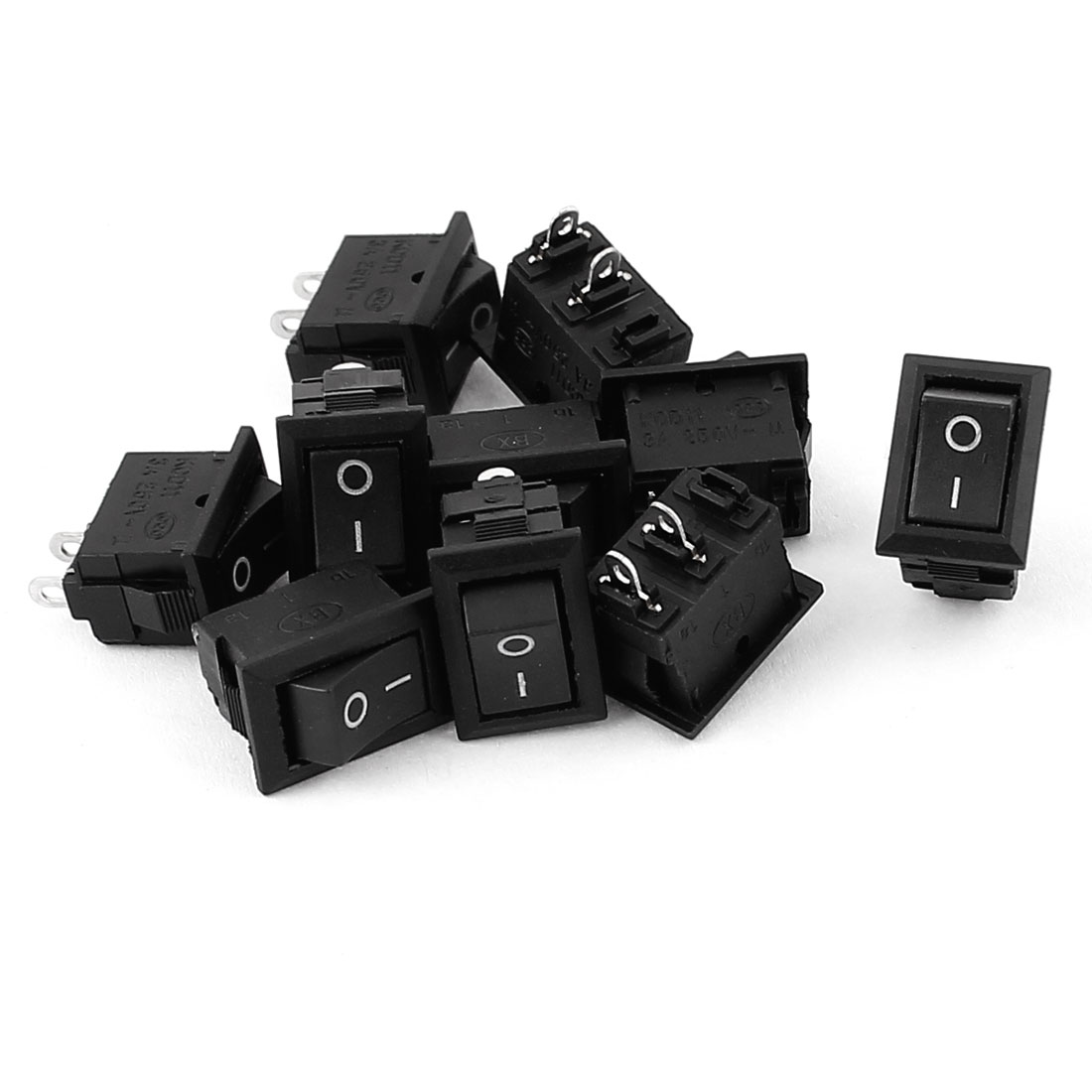 10 Pcs AC 250V 3A I/O 2 Position 2 Terminals SPST Latching Boat Rocker Switch Black