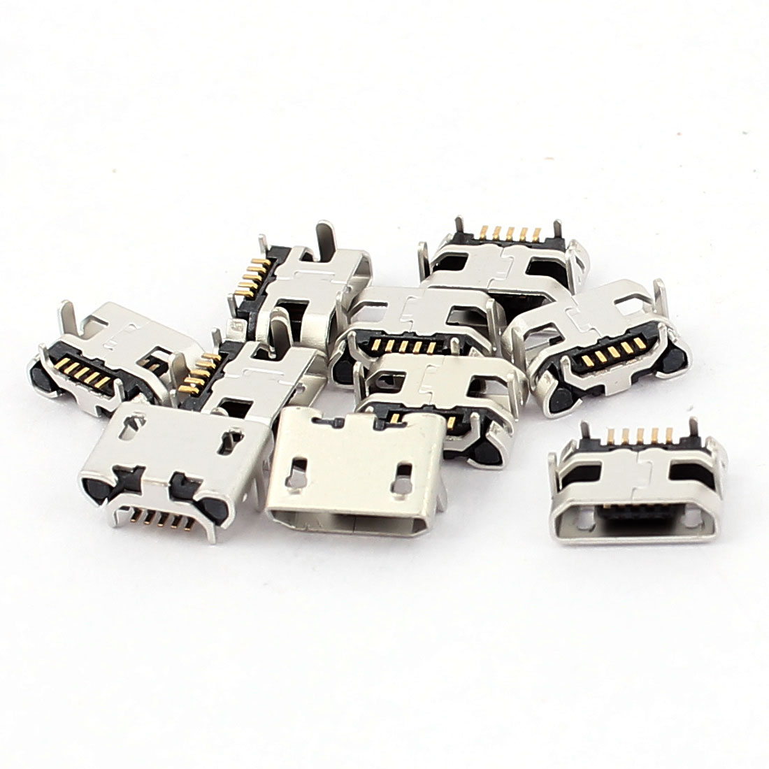 10 Pcs 5 Pin PCB Mount Micro B USB Female SMT Connector Data Port