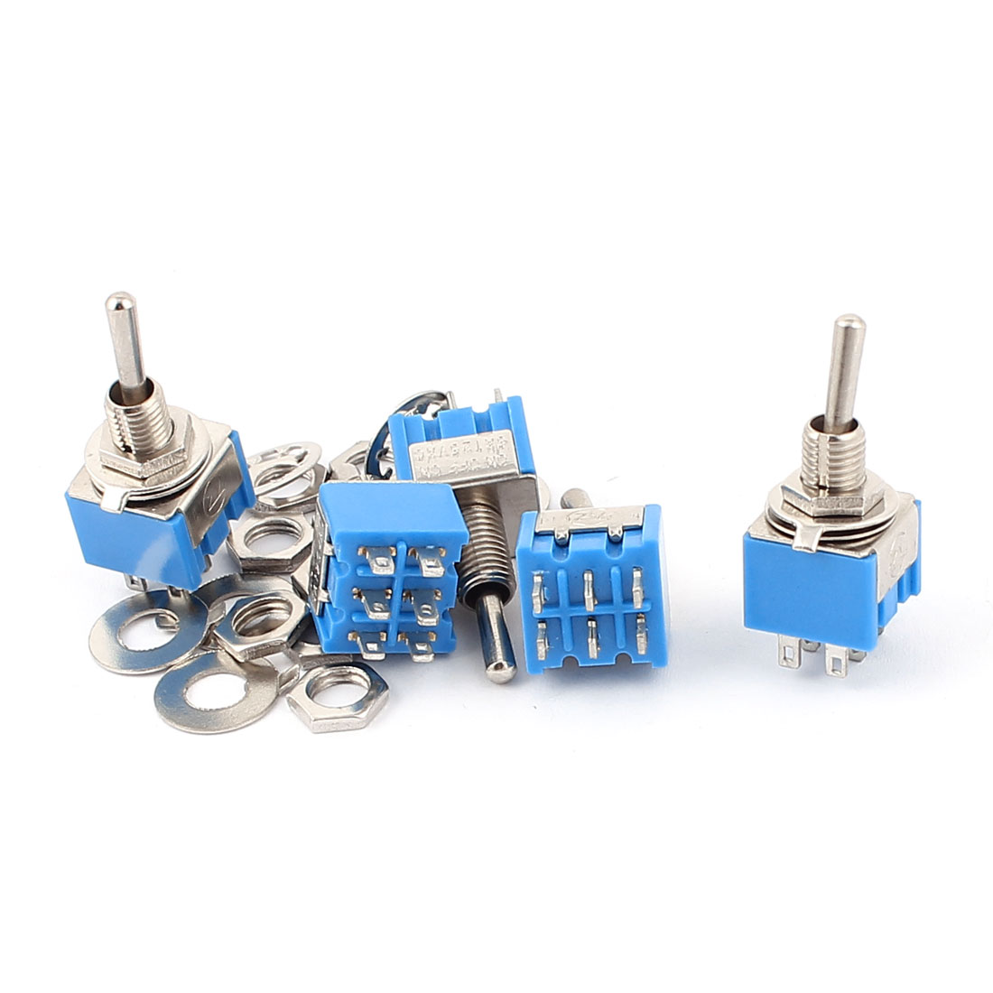 5pcs AC 125V 3A 6 Terminals 6mm Thread Panel Mount 3 Position On/Off/On DPDT Latching Toggle Switch