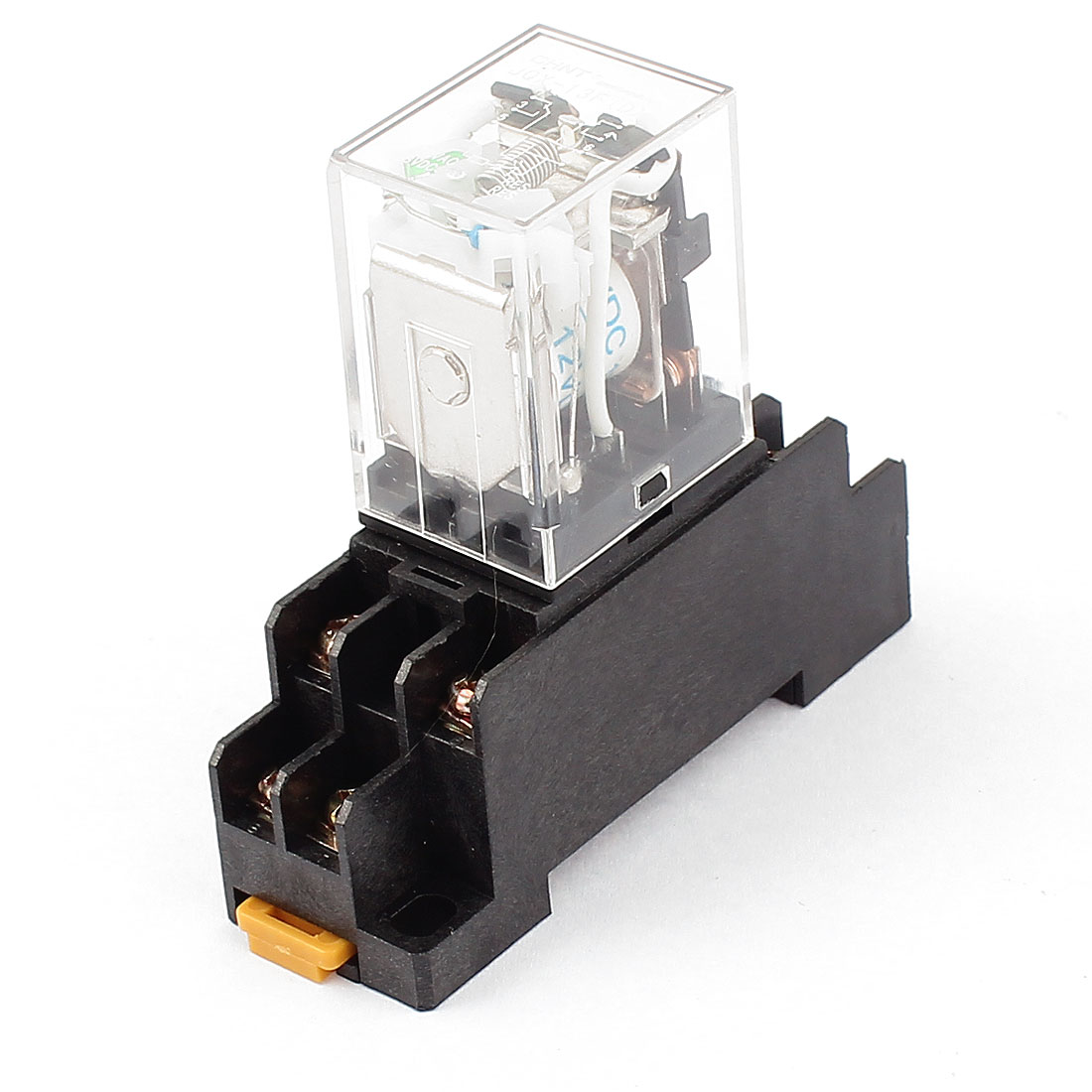 JQX-13F DC 12V Coil 8 Screw Terminals 35mm DIN Rail Green LED Pilot Lamp Power Relay w Socket
