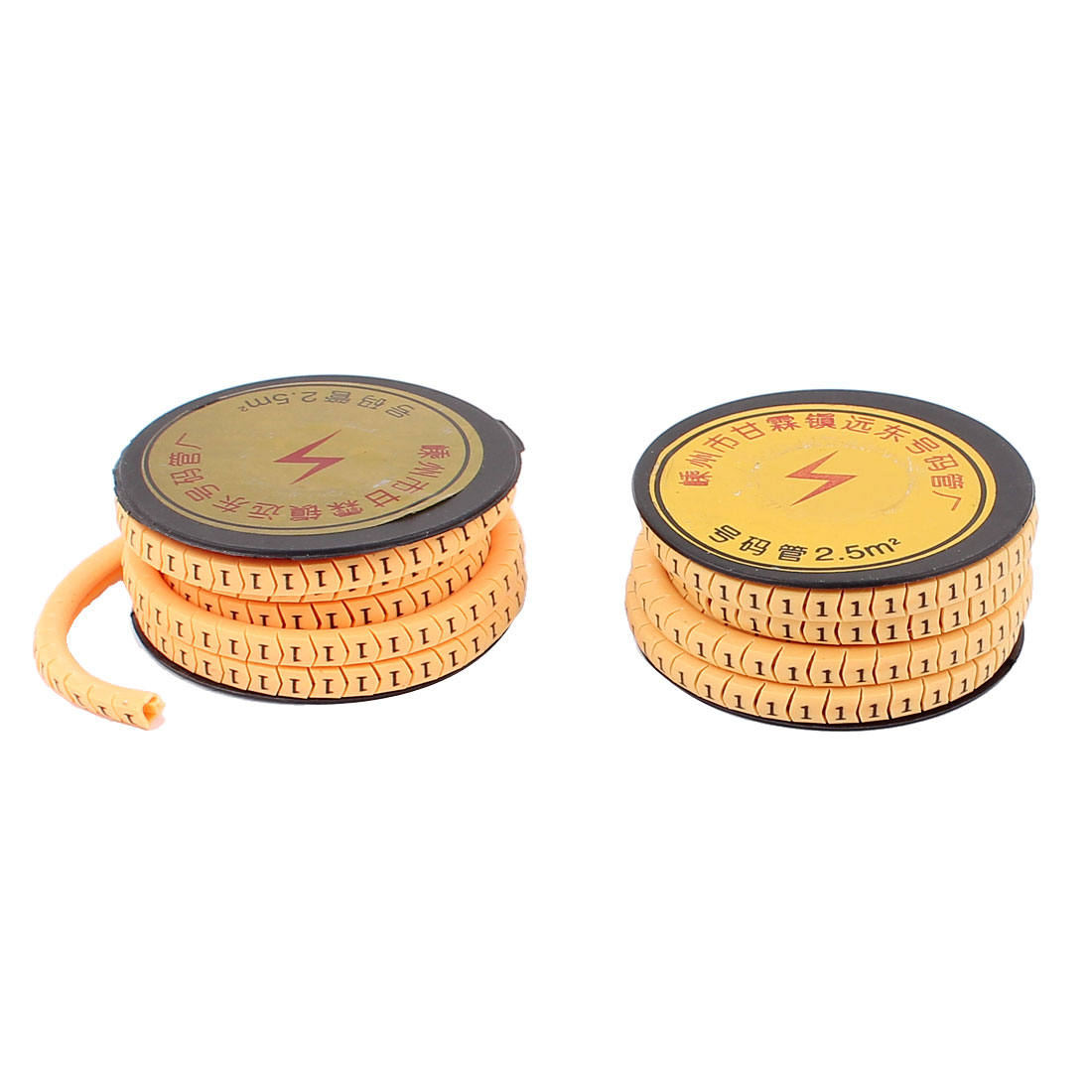 2pcs Flexible Yellow PVC Arabic Numerals 1 Printed Cable Marker Tag Label Reel Roll for 2.5mm2 Wire