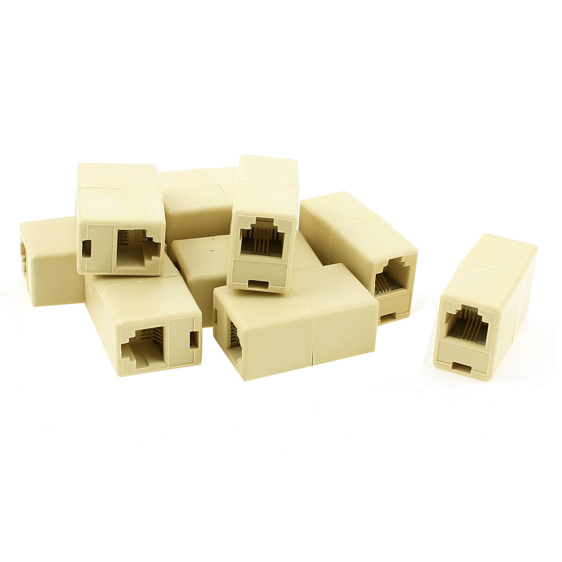 10pcs Plastic Shell RJ11 8P4C Female to Female Phone Cable Extension Line Network Connector Adapter Jack