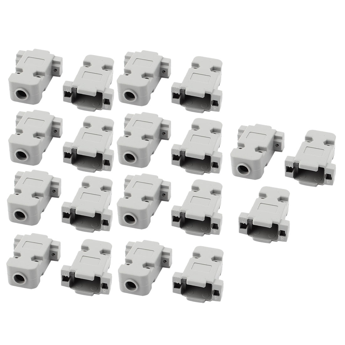 19 Pcs D-Sub DB9 9Pin Connector Plastic Hood Cover Housing Shell Protector Gray