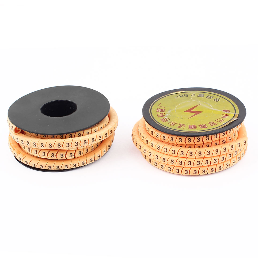 2pcs Flexible Yellow PVC Arabic Numerals 3 Printed Cable Marker Tag Label Reel Roll for 2.5mm2 Wire