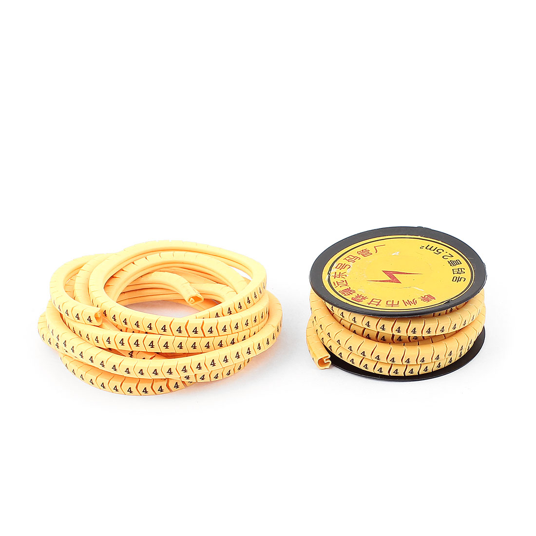2pcs Flexible PVC Arabic Numerals 4 Printed Cable Marker Tag Label Reel Roll for 2.5mm2 Wire