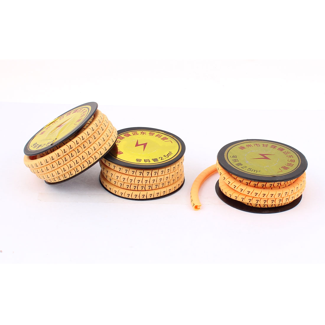 3pcs Flexible Yellow PVC Arabic Numerals 7 Printed Cable Marker Tag Label Reel Roll for 2.5mm2 Wire