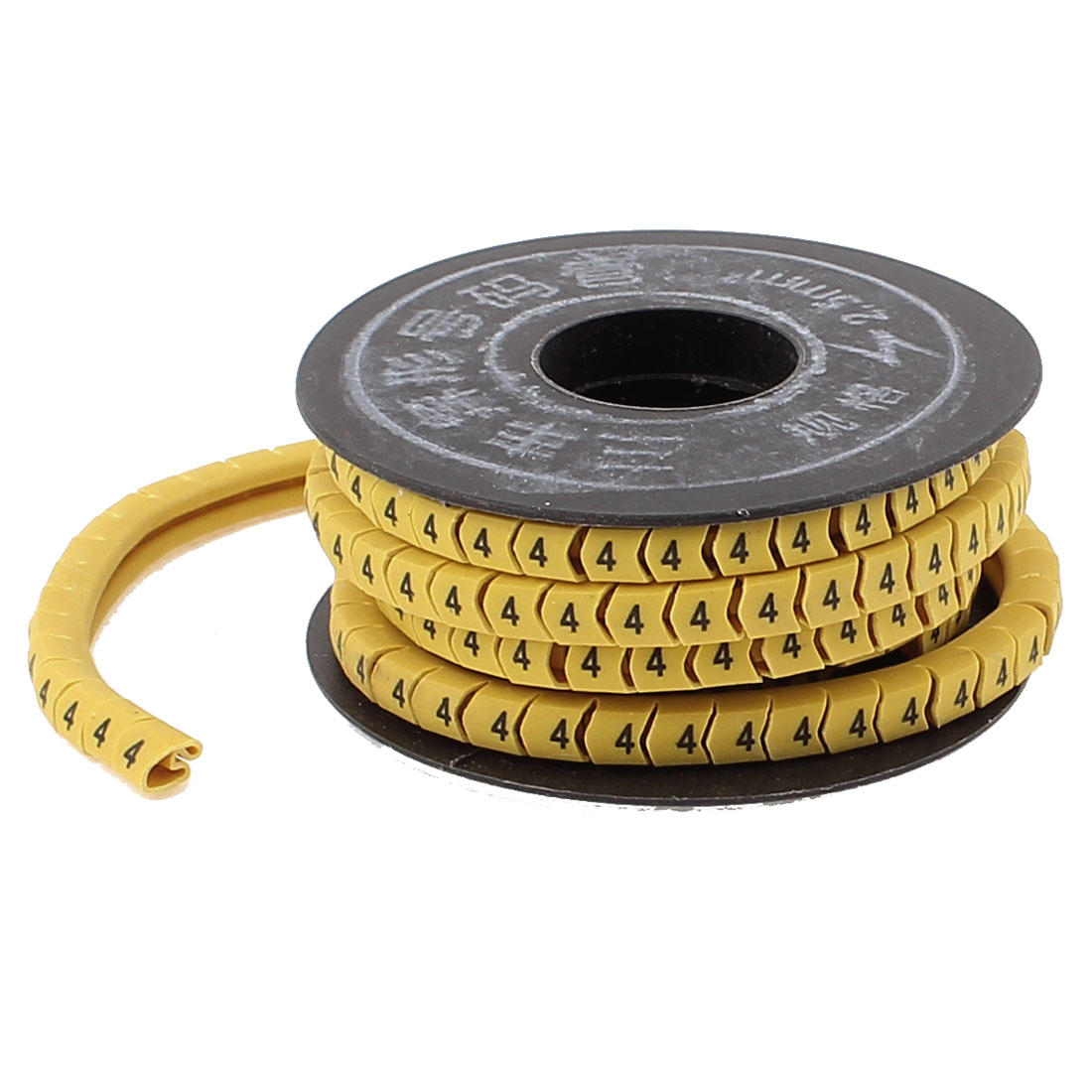 Flexible Yellow PVC Arabic Numerals 4 Printed Cable Marker Tag Label Reel Roll for 2.5mm2 Wire