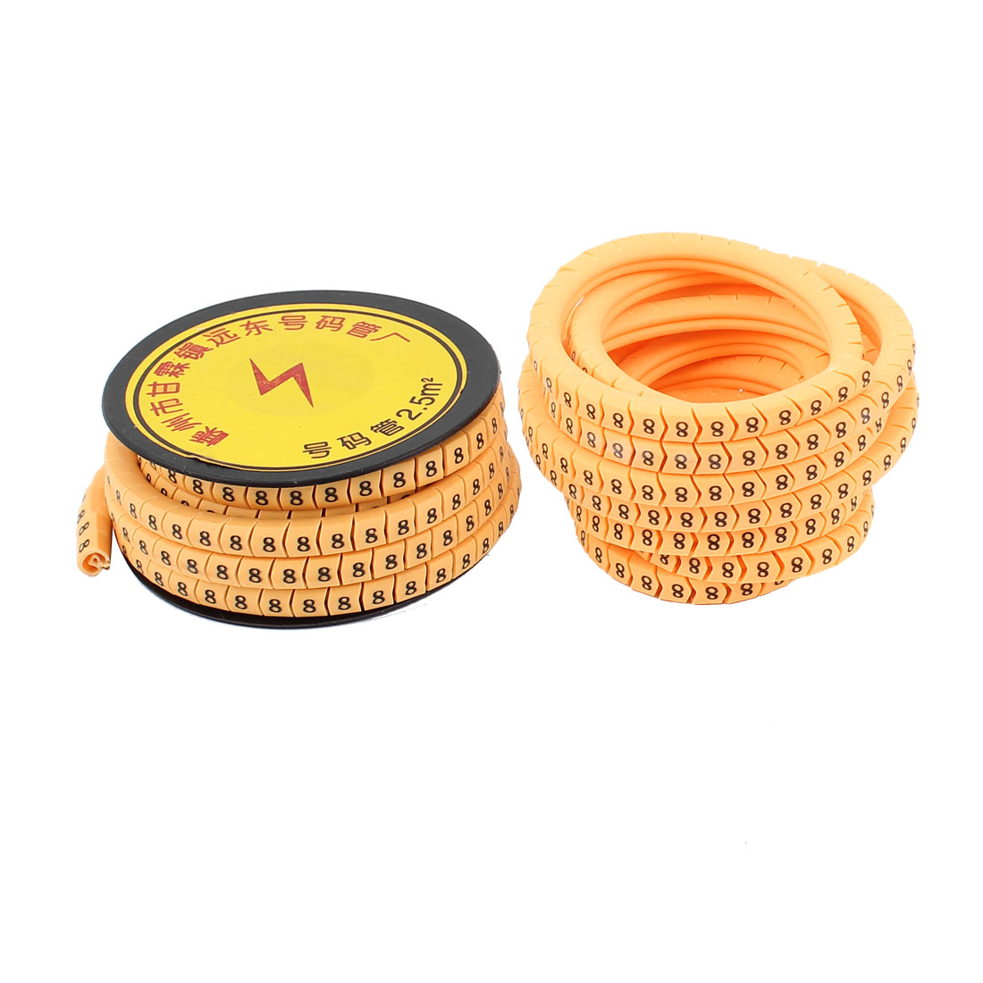 2pcs Flexible PVC Arabic Numerals 8 Printed Cable Marker Tag Label Reel Roll for 2.5mm2 Wire