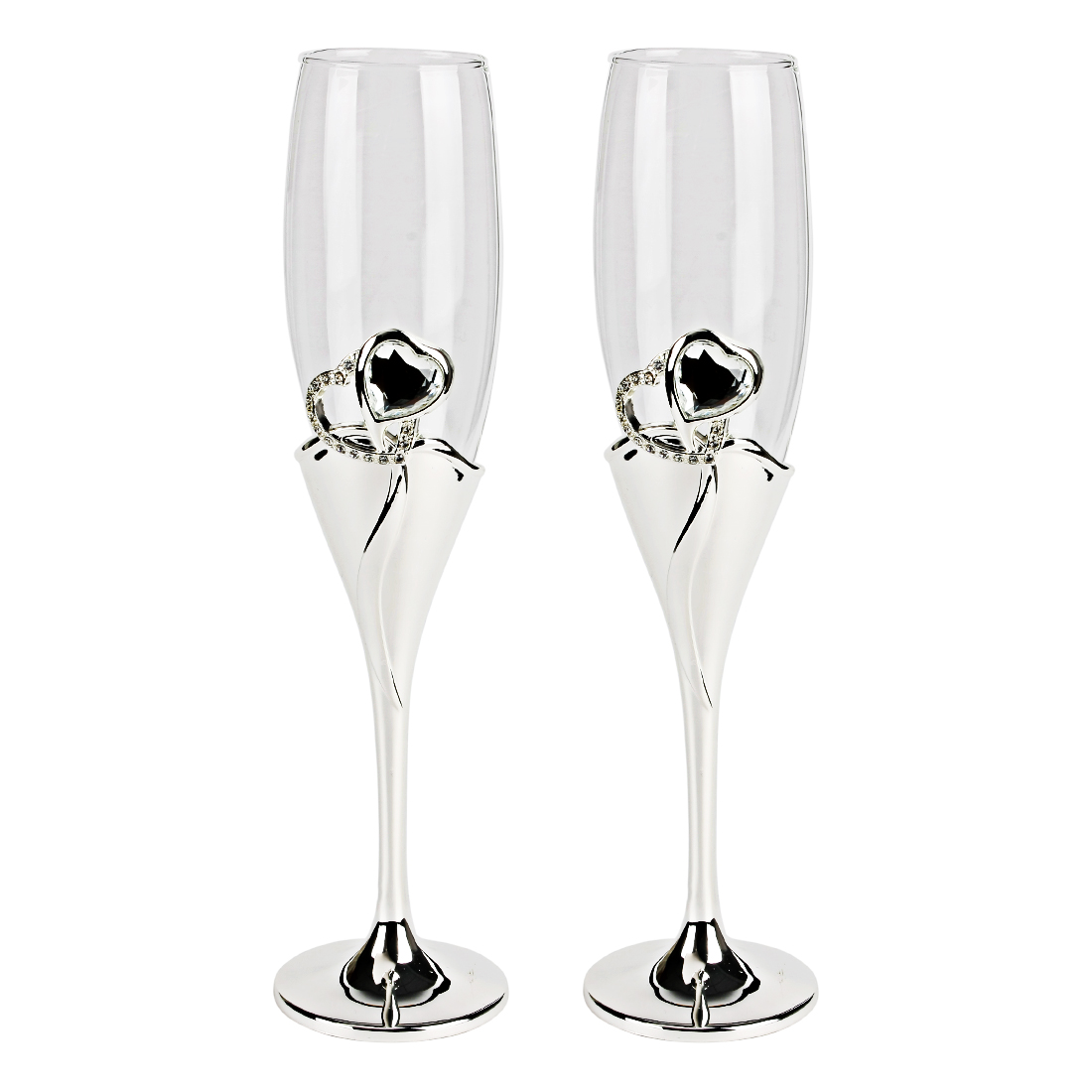2 Pcs Wedding Champagne Silver Plated Stem Diamante Flutes Toasting Glasses