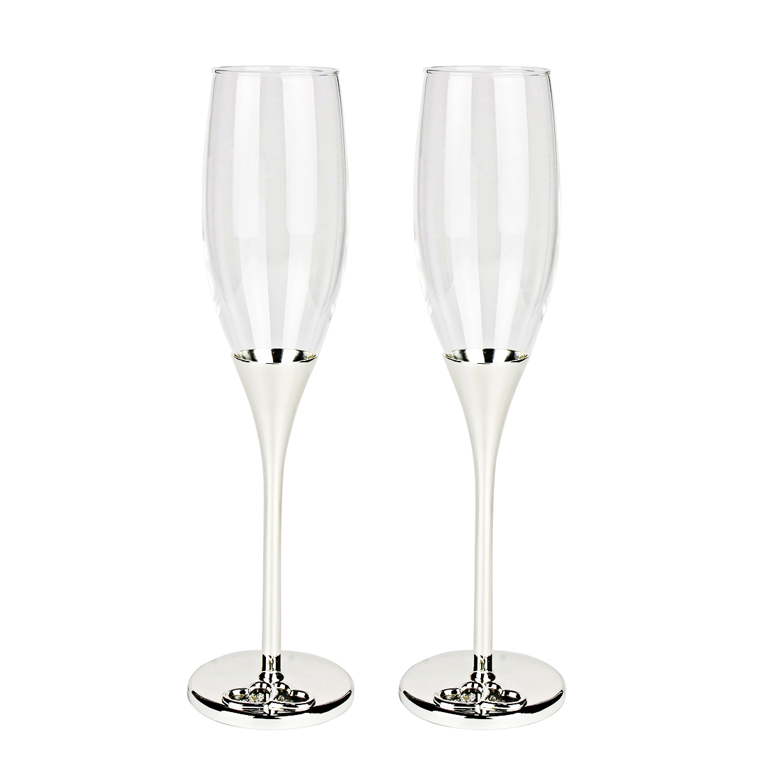 Wedding Champagne Hearts Pattern Diamante Flutes Toasting Glasses 2 Pcs