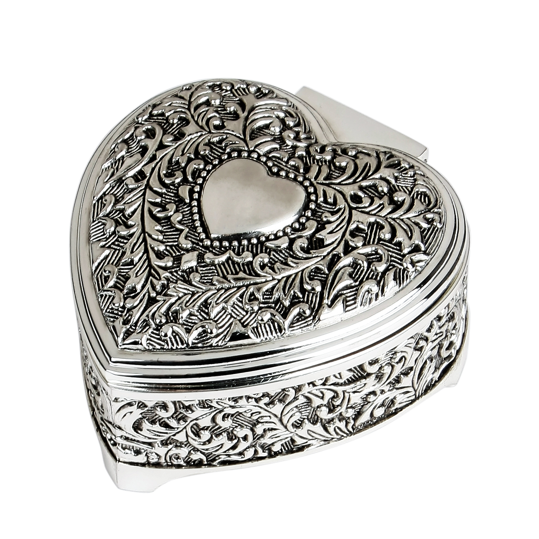 Heart Shaped Wedding Ring Jewelry Engraving Storage Box Case Organizer