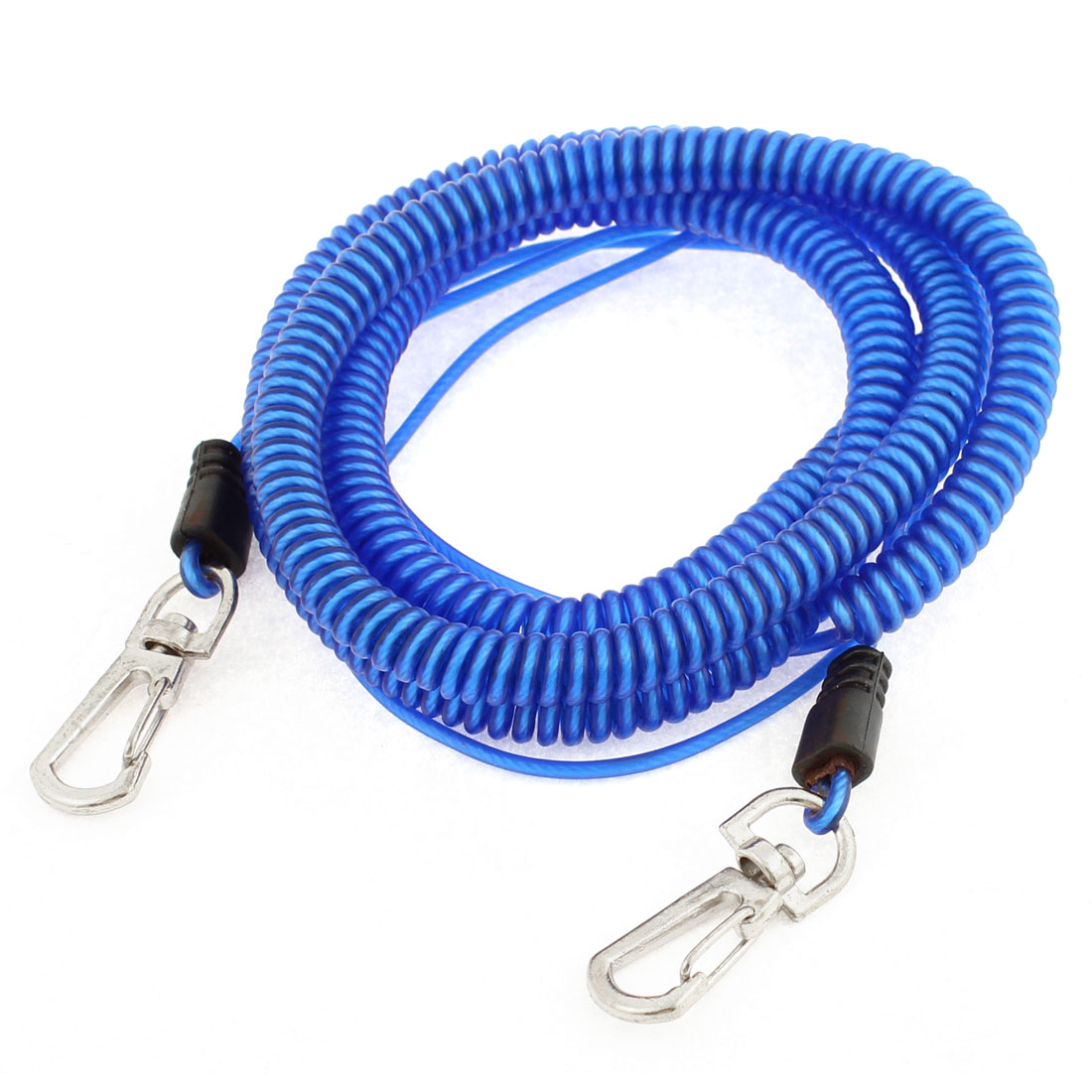 26Ft 8m Long Stretchy Coiled Fishing Lanyard Rope Safety Cable Cord Double Lobster Hook Blue