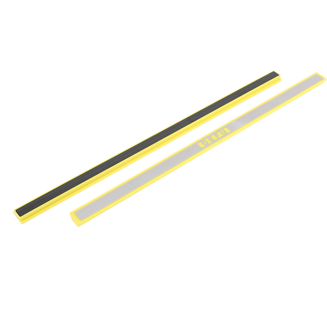 School Whiteboard Yellow Silver Tone Magnetic Stripes Bars 30cm 2 Pcs