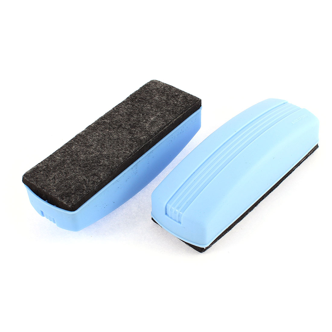 School Teaching Plastic Shell Magnetic Blackboard Eraser Blue Black 2 Pcs