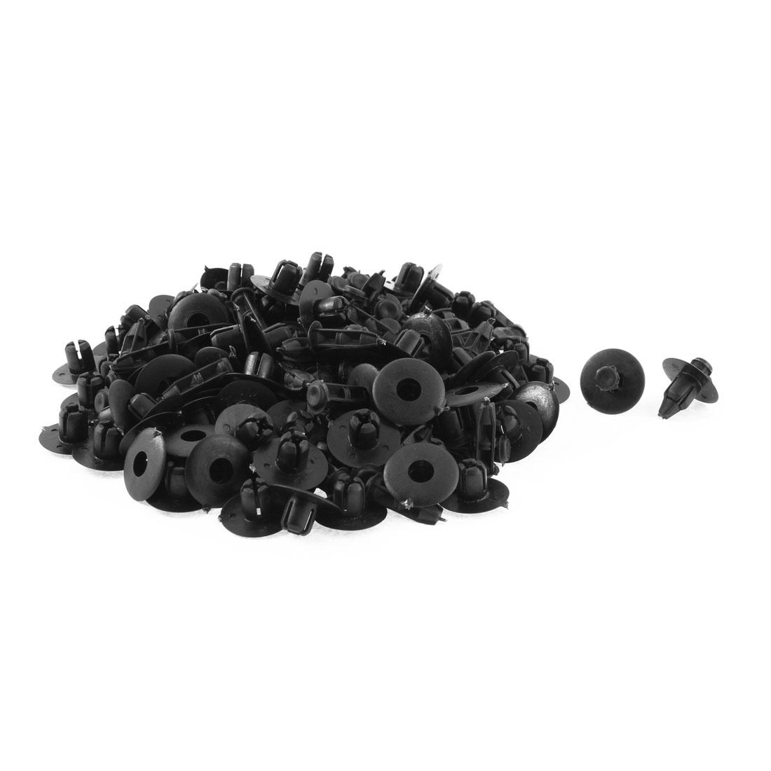100 Pcs 20mm Head Dia Black Plastic Push-Type Door Bumper Retainer Clip Rivets