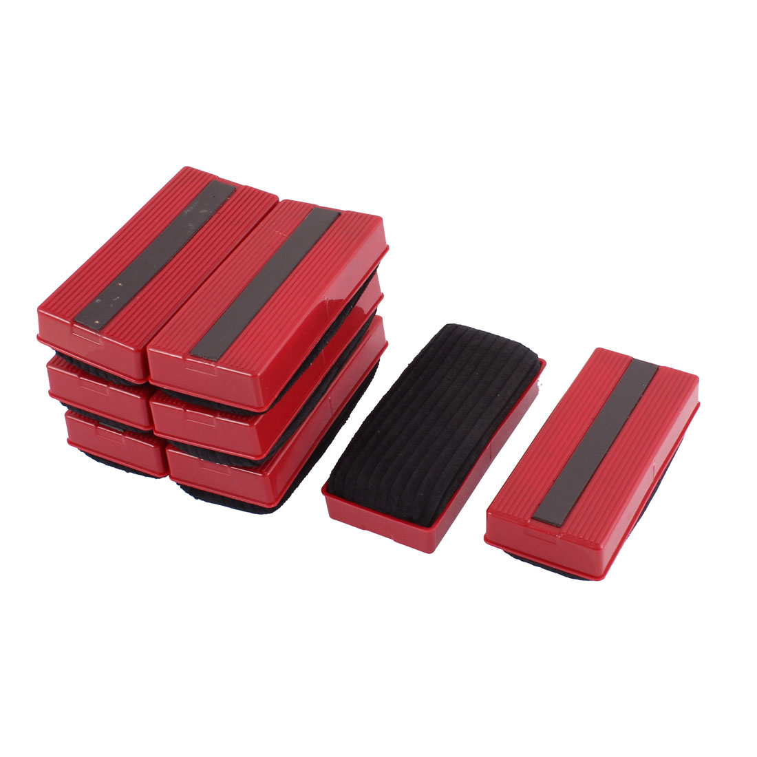 School Teaching Plastic Shell Magnetic Blackboard Eraser Red Black 8 Pcs