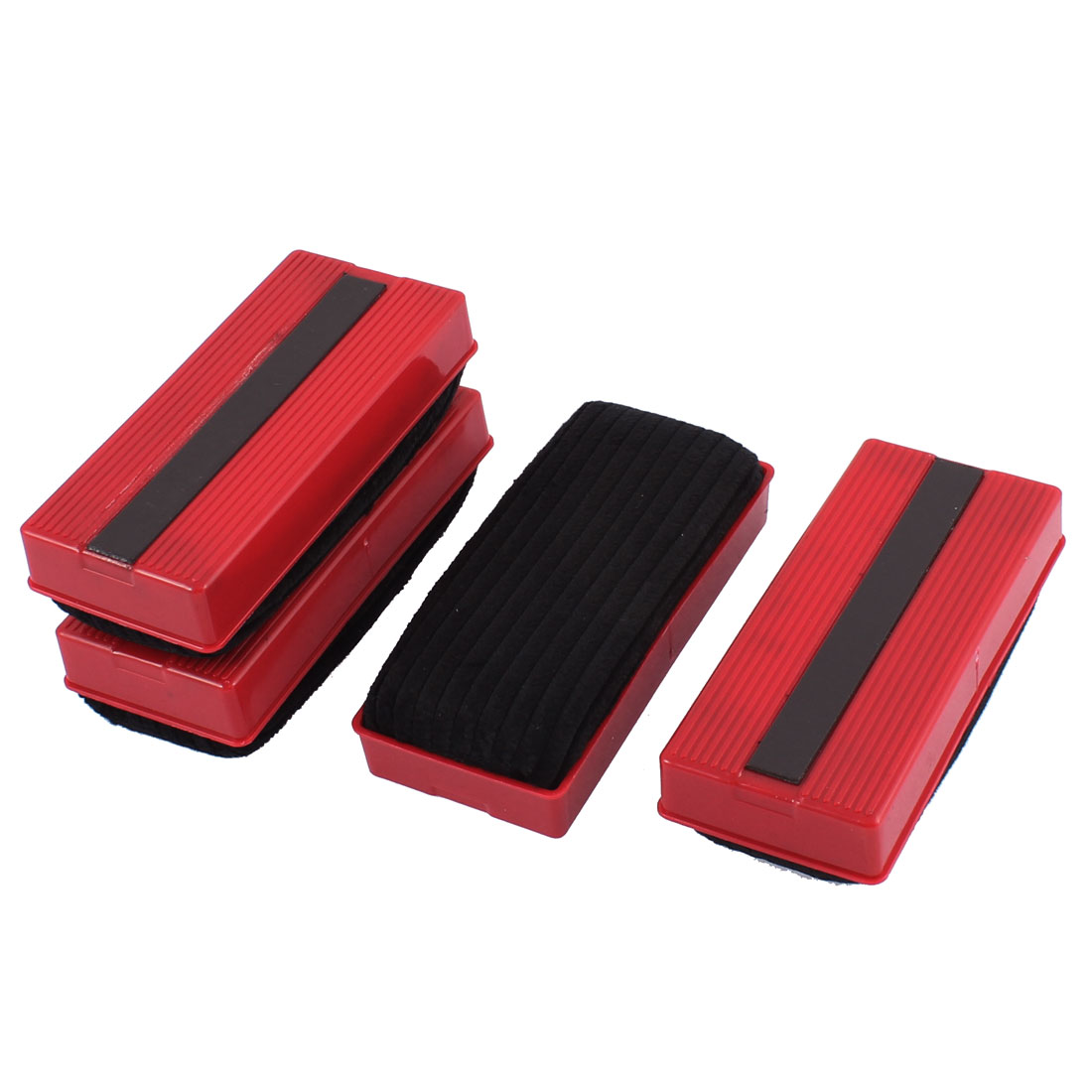 School Teaching Plastic Shell Magnetic Blackboard Eraser Red Black 4 Pcs