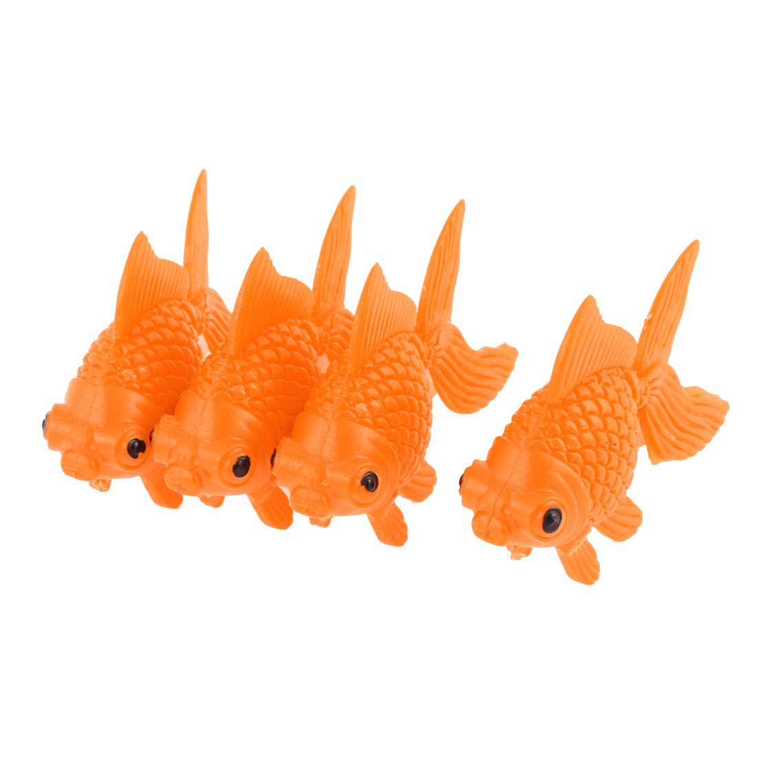 Orange Plastic Fish Tank Ornament Artificial Swing Tail Goldfish 4 Pcs
