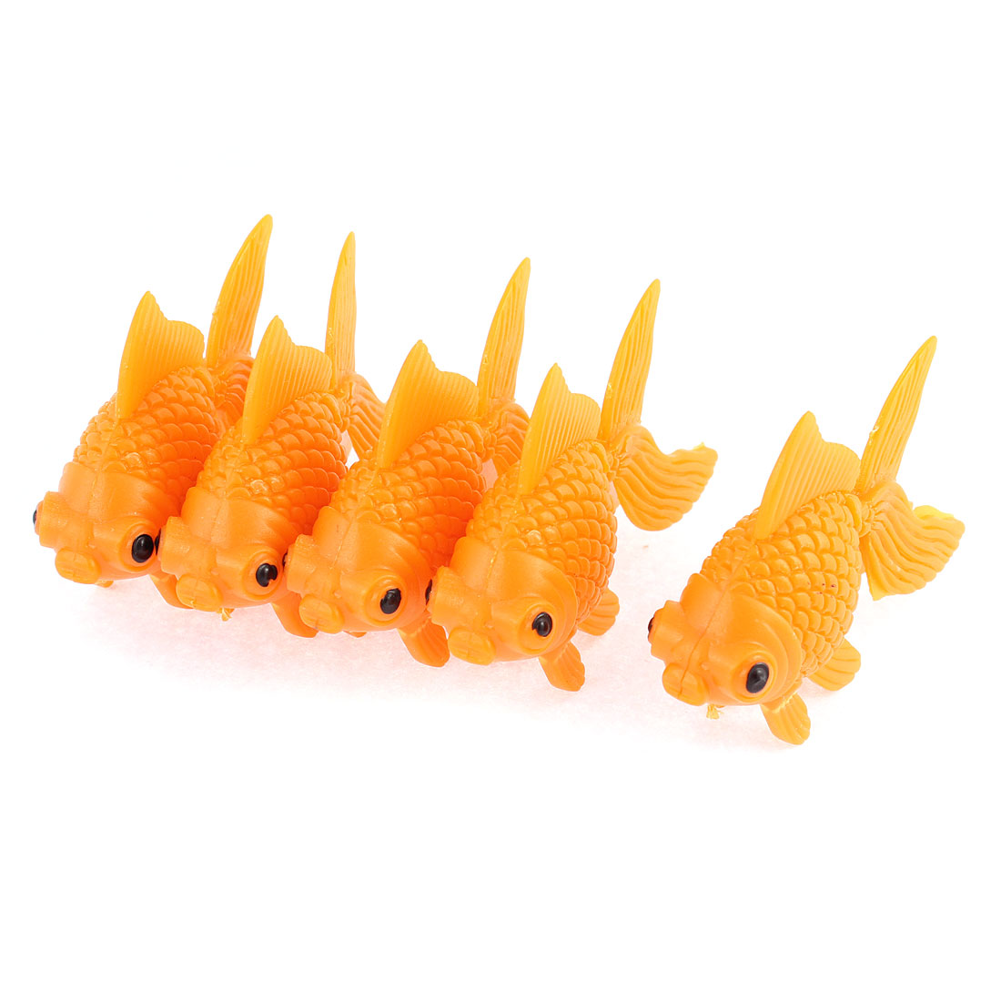 Orange Plastic Fish Tank Ornament Artificial Swing Tail Goldfish 5 Pcs
