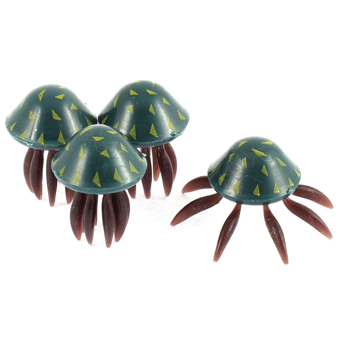 4 Pcs Navy Blue Chocolate Color Fish Tank Plastic Artificial Jellyfish Ornament