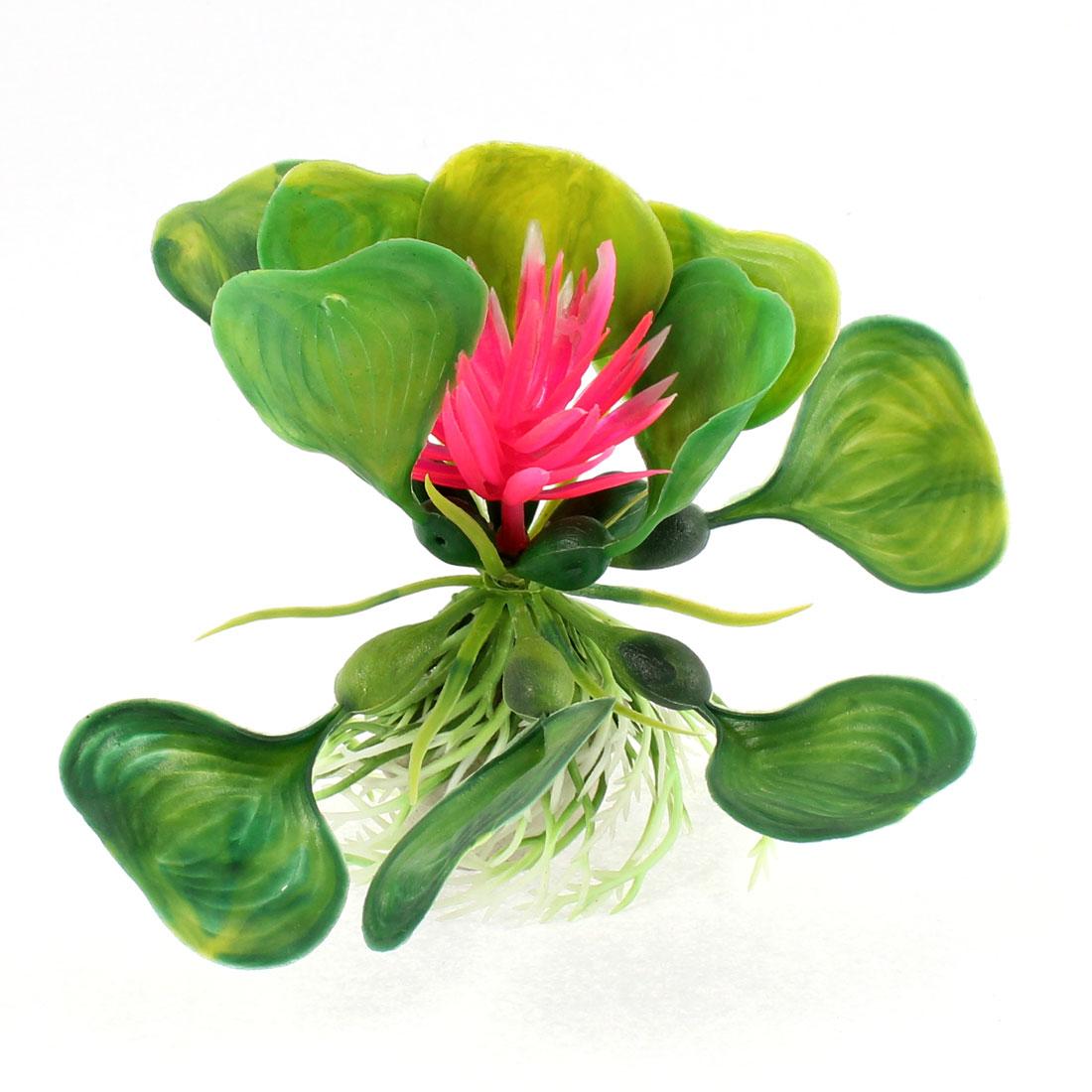 Green Pink Plastic Artificial Aquarium Underwater Flower Plant Ornament