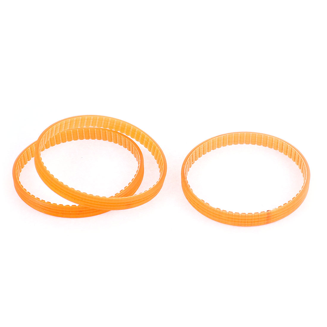 3 Pcs 60 Teeth Rubber PU Double Sided Multi Wedge Timing Belt Orange