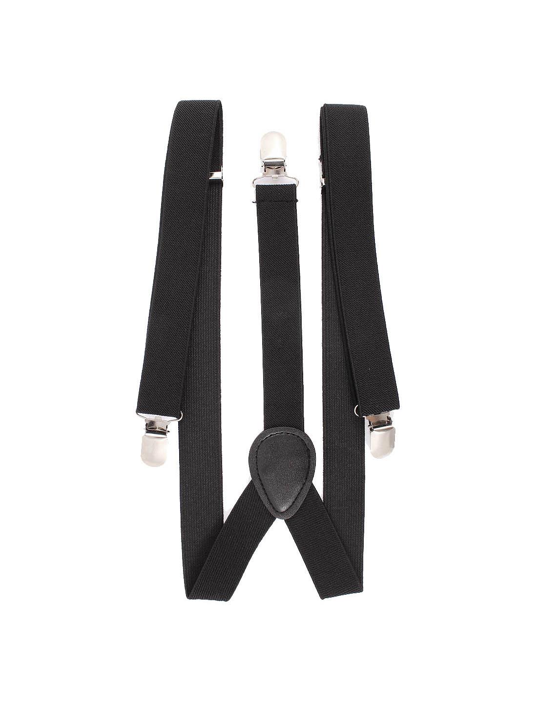 Elastic Fibre Metal Clamp Y Shape Adjustable Suspenders Braces Black