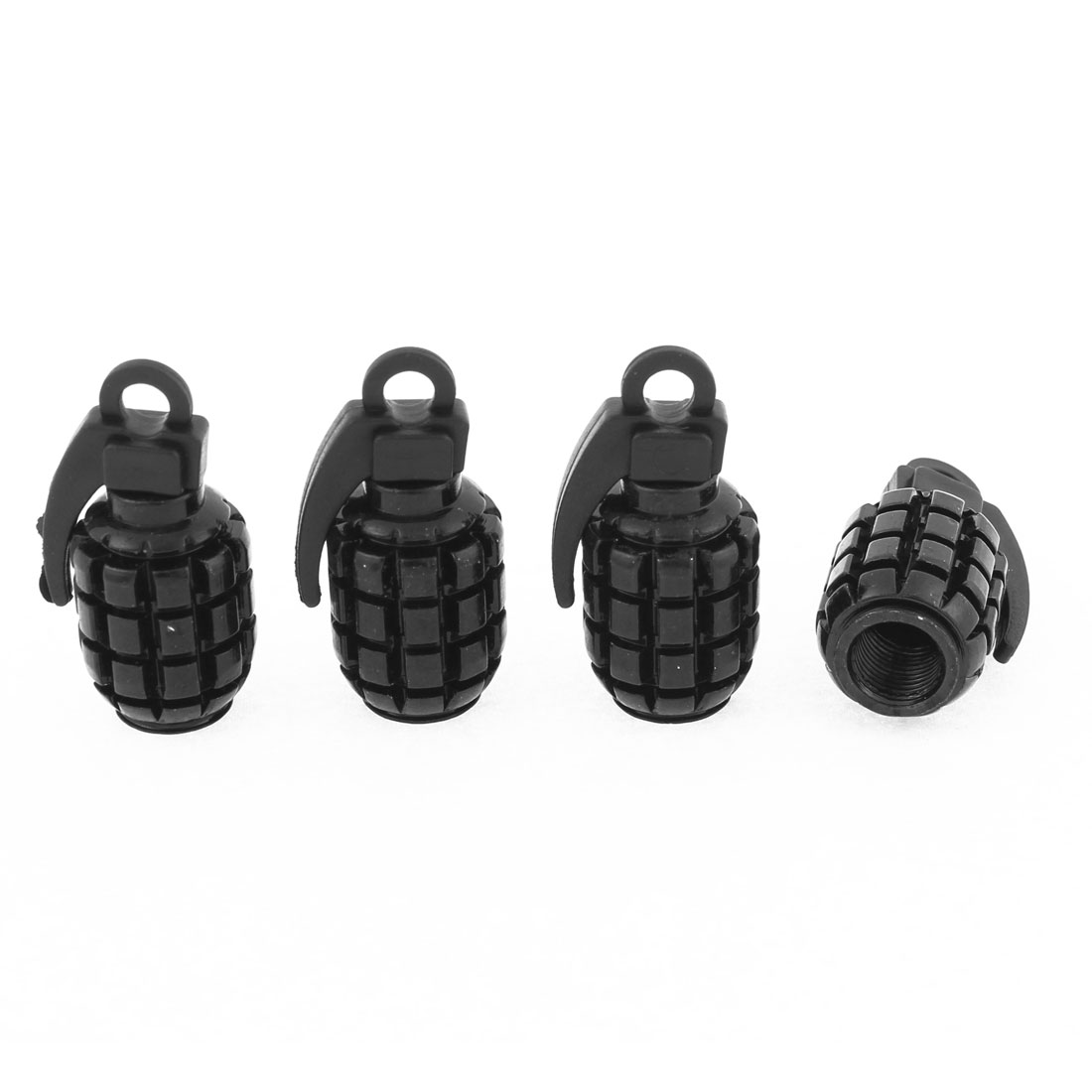 Vehicle Metal Plastic Bomb Shape Tire Tyre Air Valves Stems Wheels Decor Cap Cover Black 4pcs