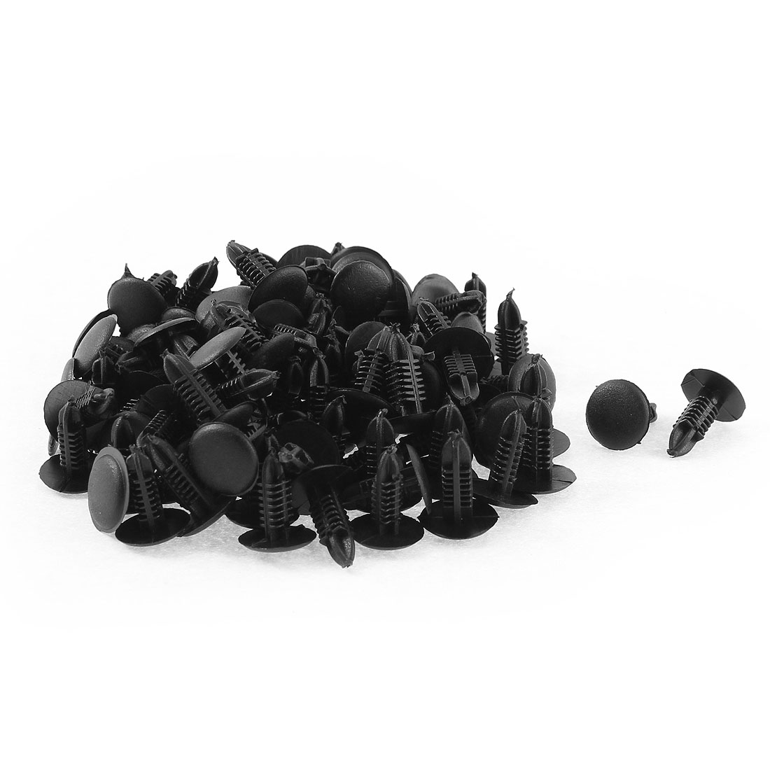 100 Pcs 12mm Head Dia Black Plastic Push-Type Door Bumper Retainer Clip Rivets