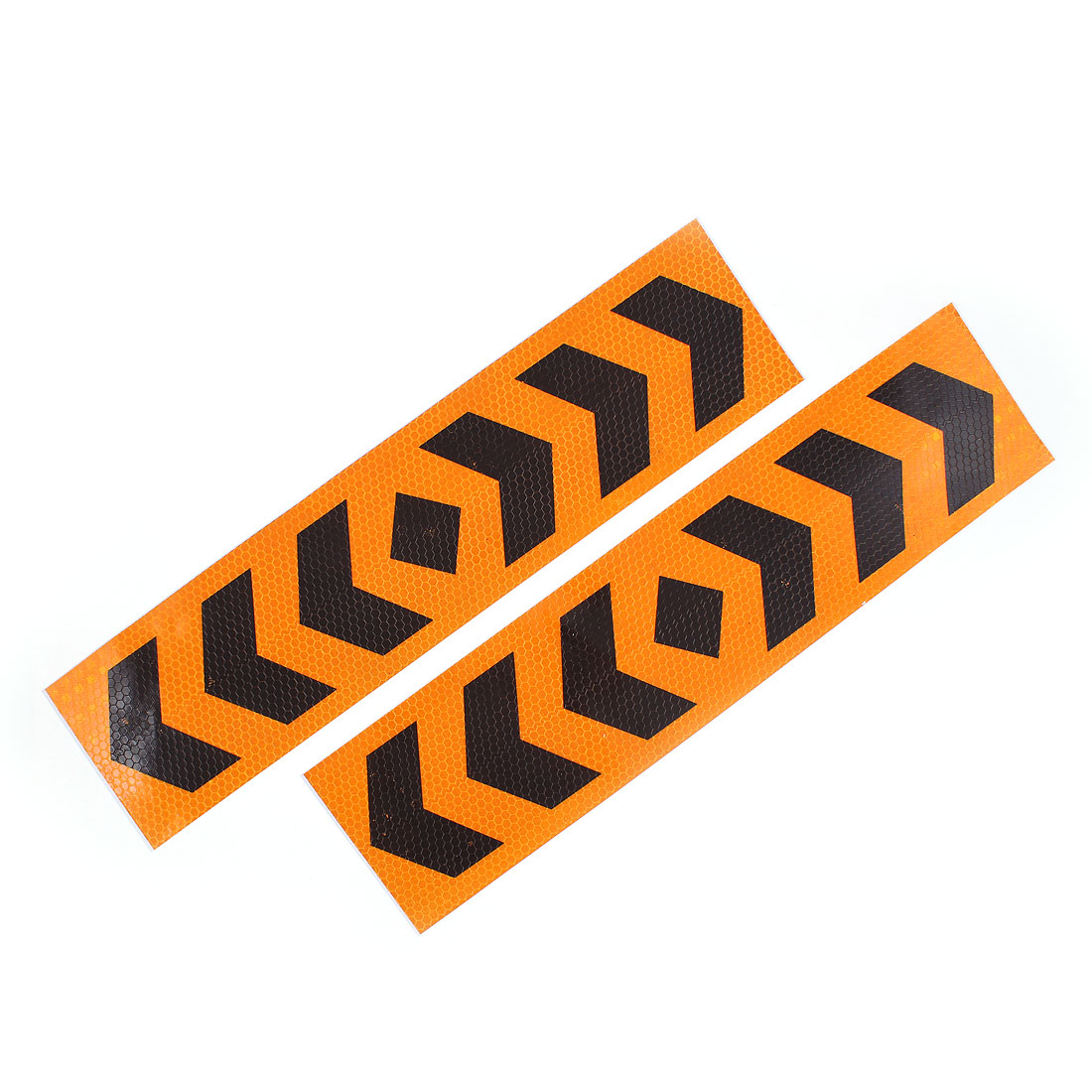 2 Pcs Plastic Arrows Printed Type Car SUV Reflective Warning Sign Sticker Tape Yellow Black