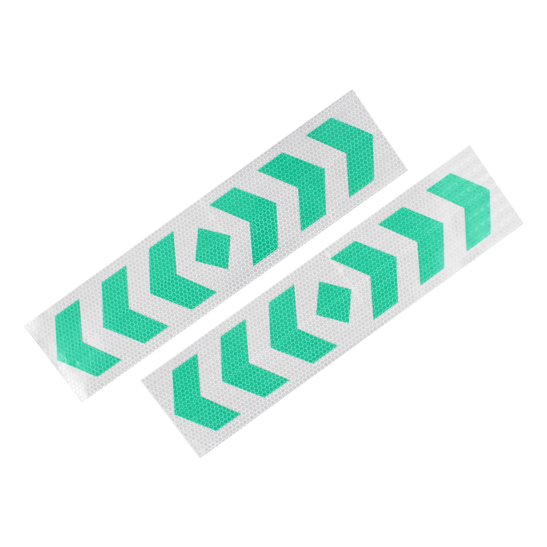2 Pcs Plastic Arrows Printed Type Car SUV Reflective Warning Sign Sticker Tape Green White