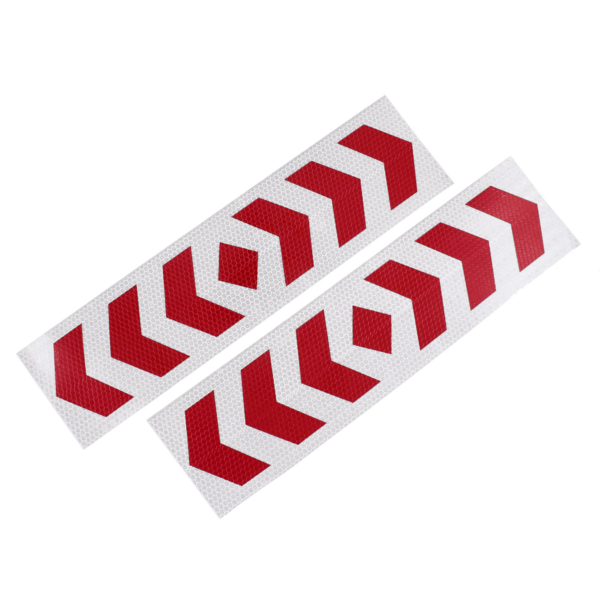 2 Pcs Plastic Arrows Printed Type Car SUV Reflective Warning Sign Sticker Tape Red White
