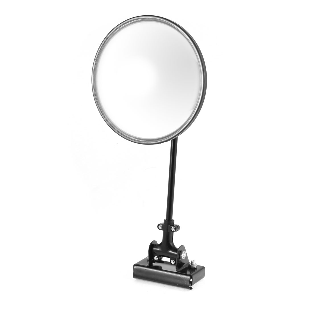 Car SUV Silver Tone Round Shaped Adjustable Angle Left Sideview Assistant Mirror