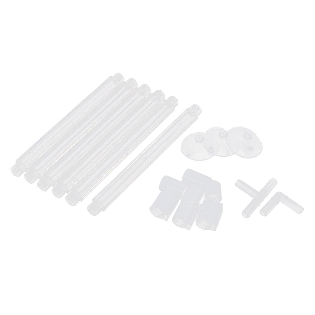 Aquarium Fish Tank Plastic Air Curtain Bubble Release Bar Diffuser Kit Clear White