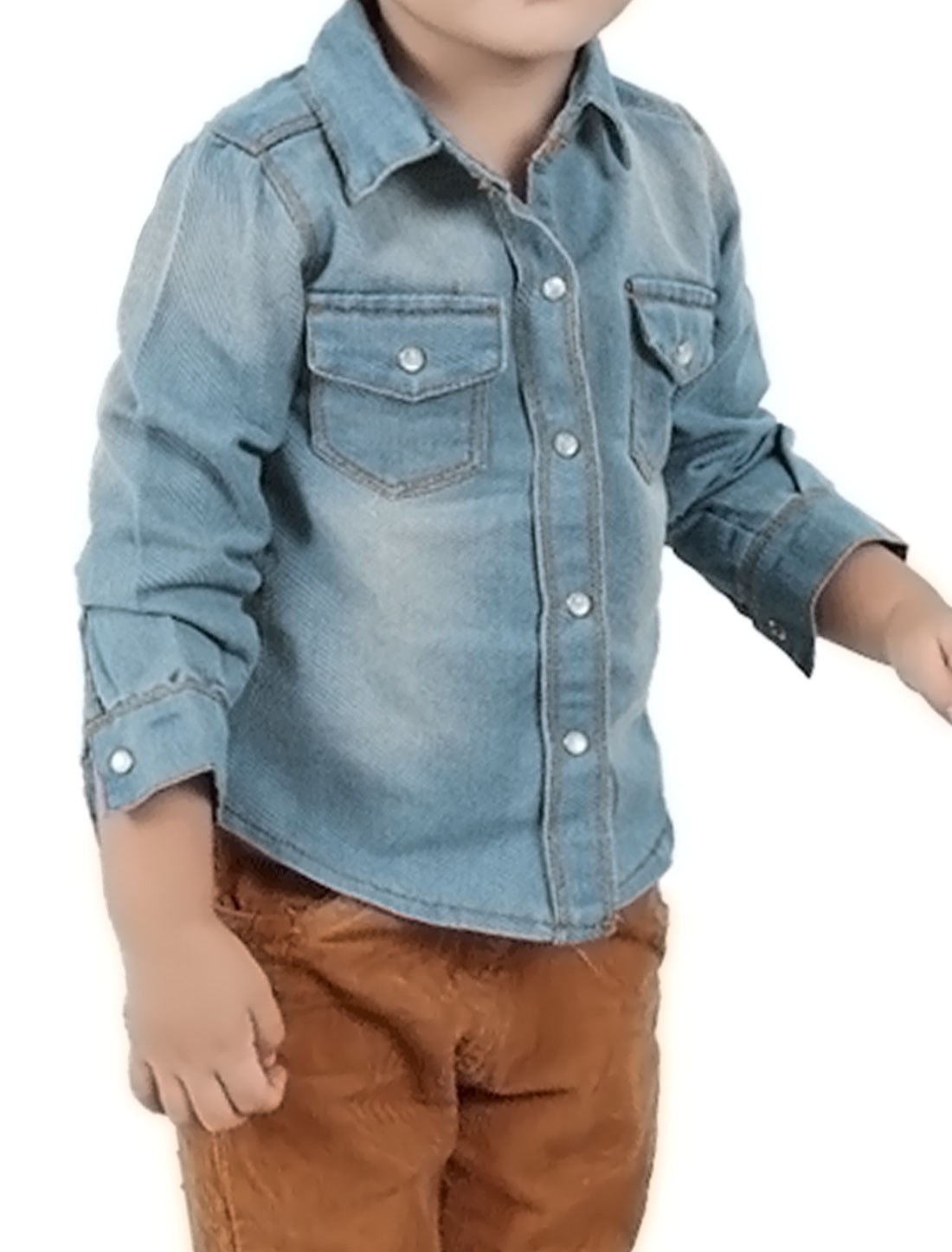 Boys Point Collar Single Breasted Slim Fit Jean Shirt Allegra Kids Blue 4