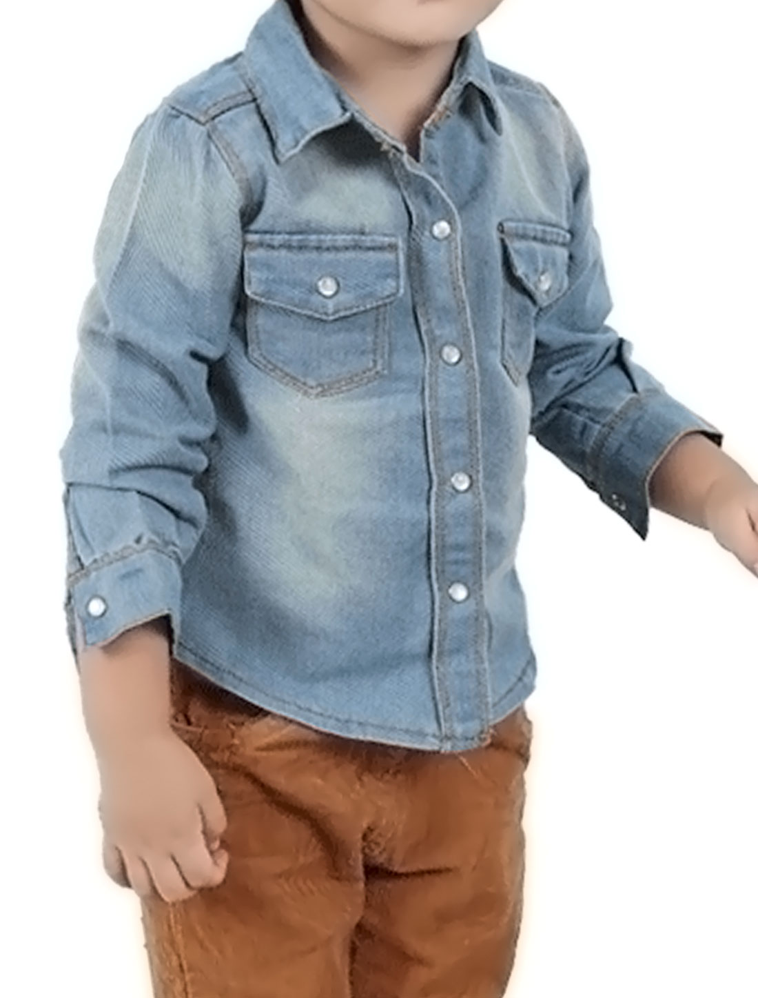 Boys Snap Button Fastener Round Hem Casual Denim Shirt Allegra Kids Blue 5