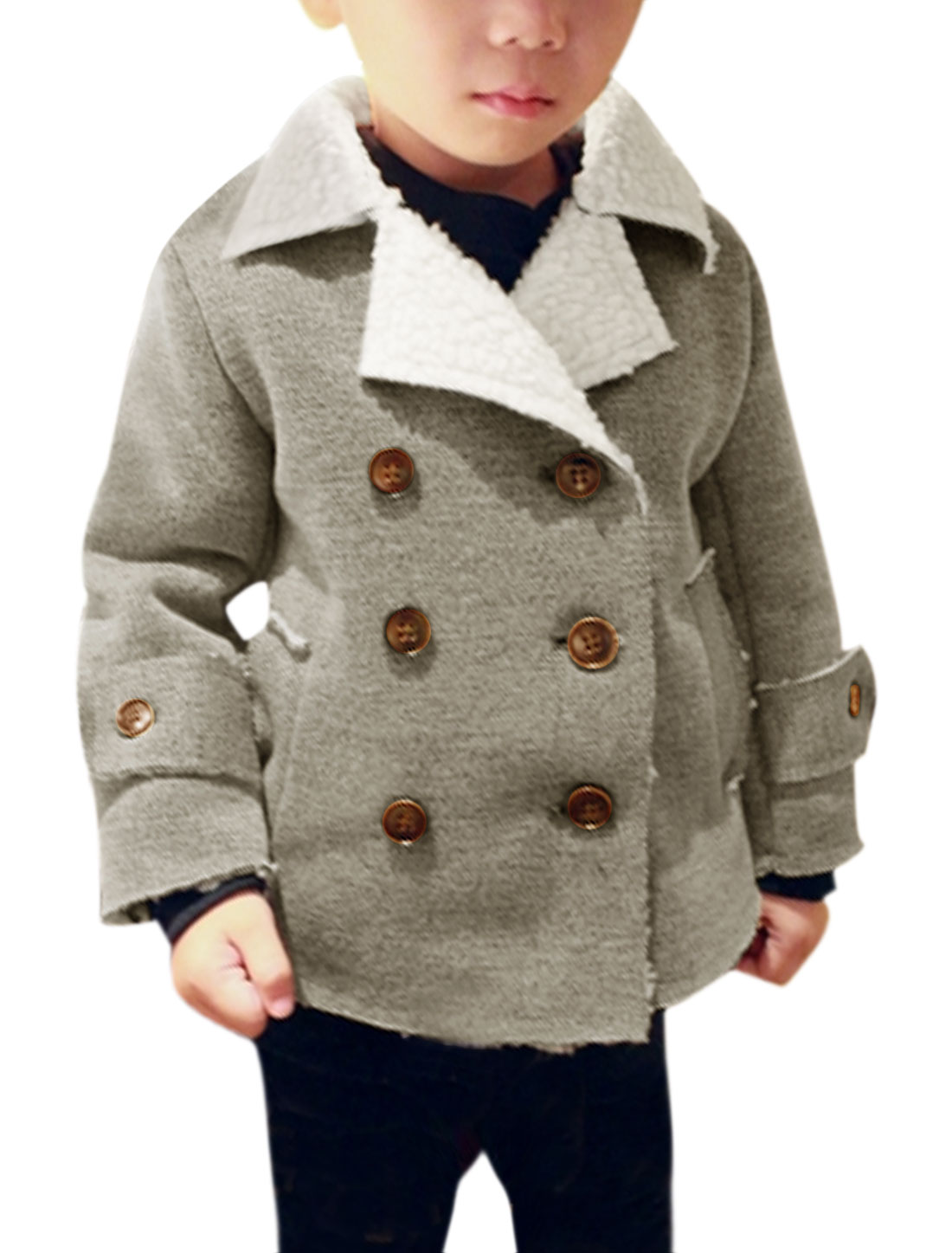 Boys Double Breasted Slant Pockets Casual Fleece Coat Gray 10