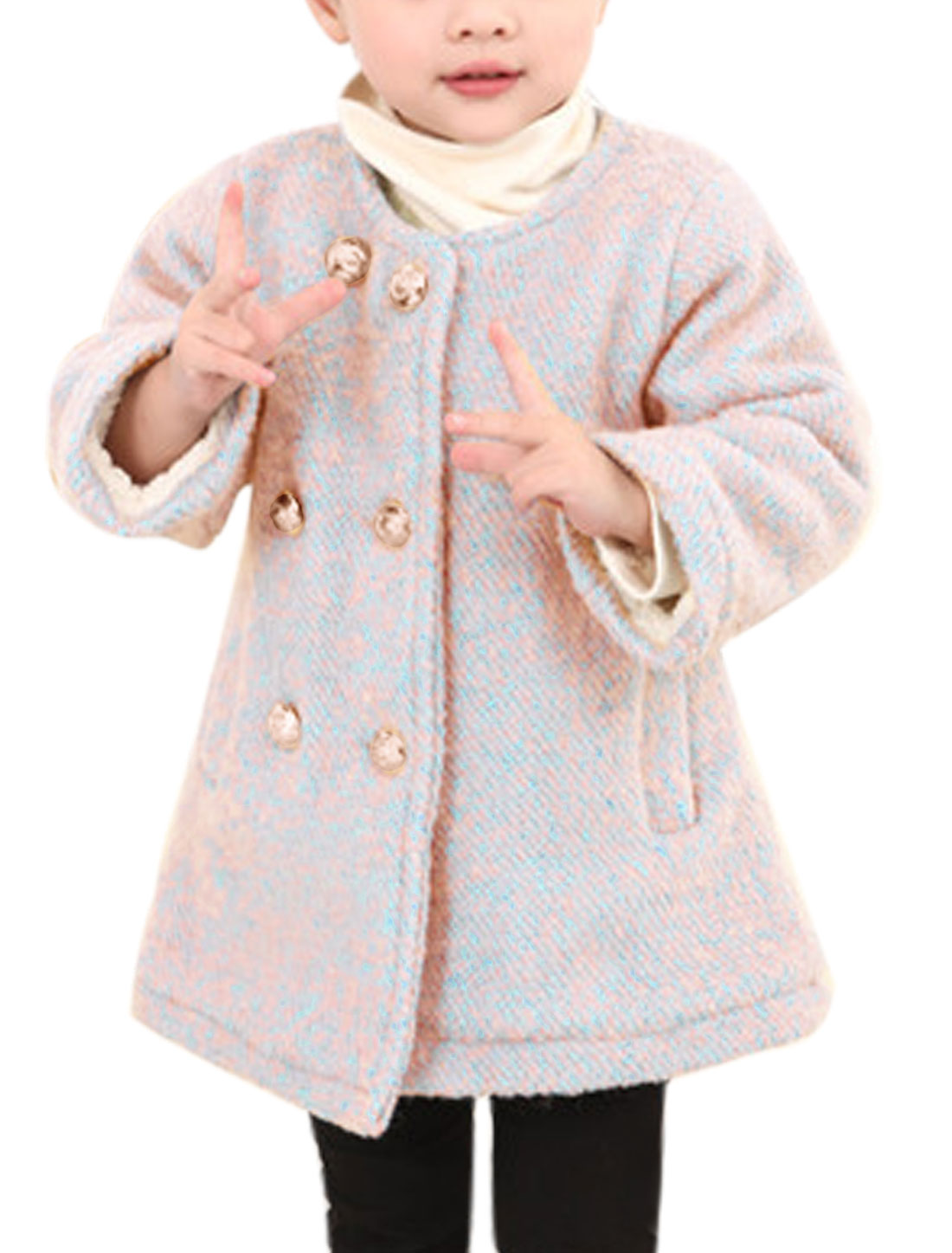 Girls Button Closed Fleece Lined Leisure Worsted Coat Blue Pink 2T